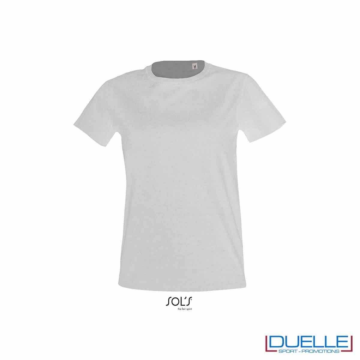 t-shirt bianca donna cotone spazzolato