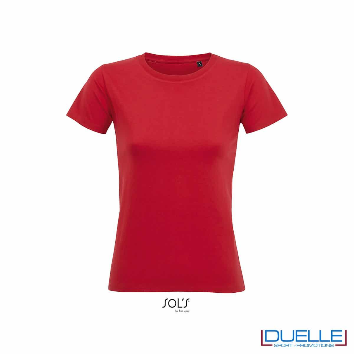 maglia rossa in cotone spazzolato femminile