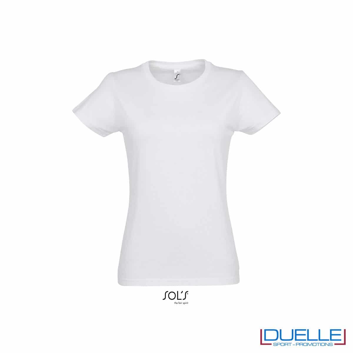 maglia bianca girocollo in cotone da donna