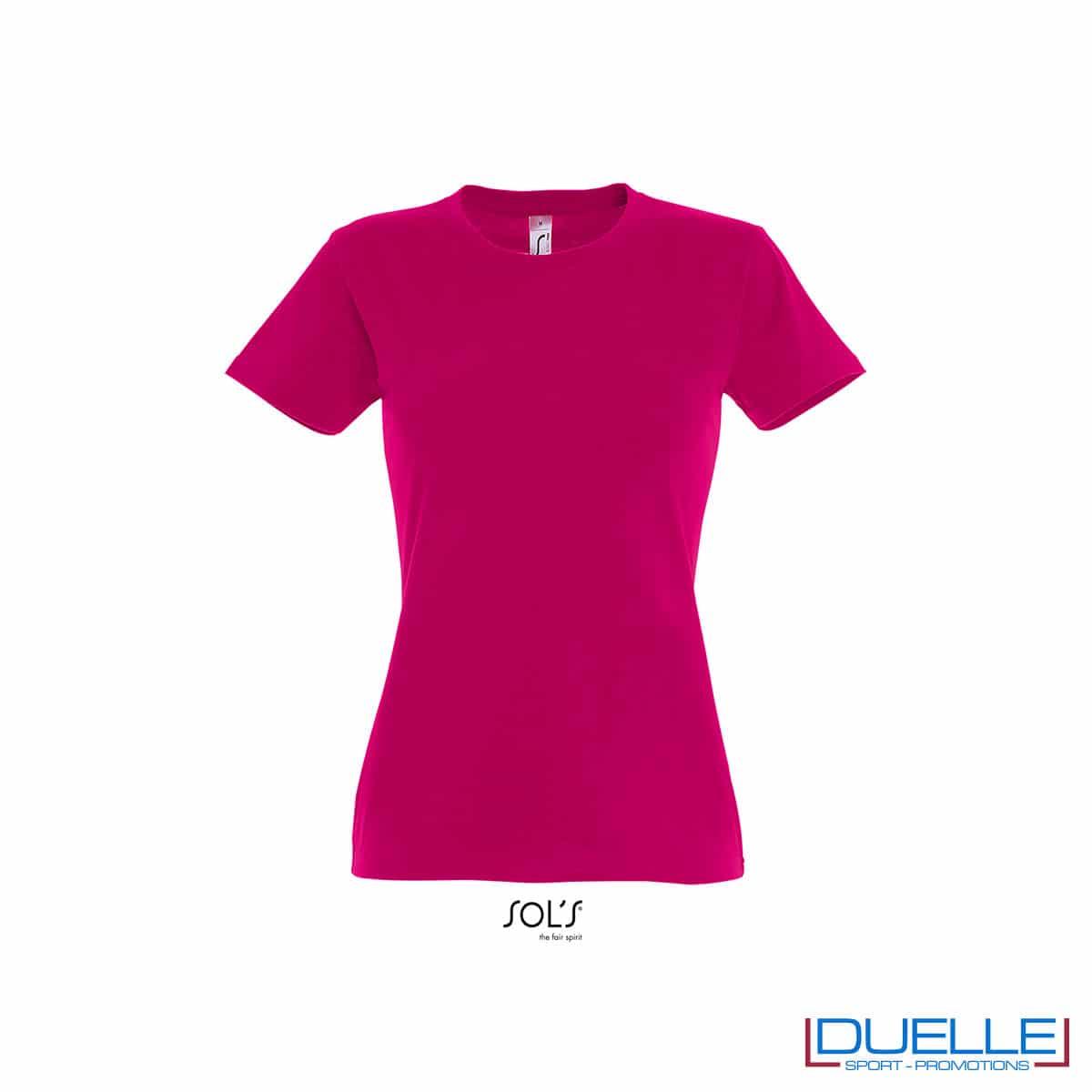 maglietta fucsia femminile con girocollo e cotone