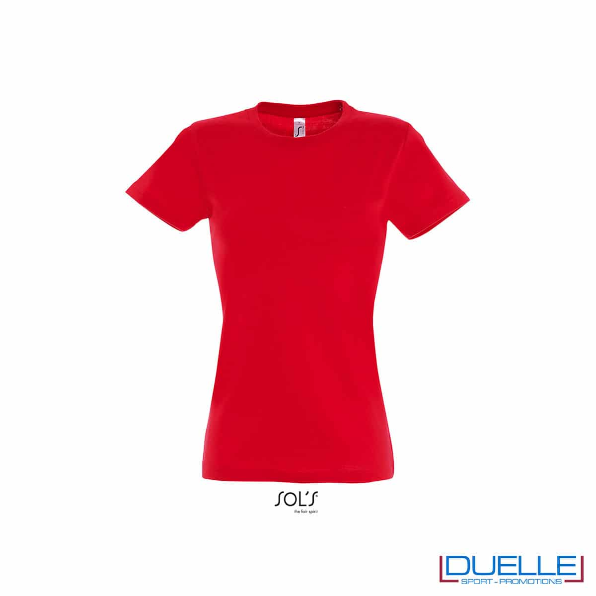 maglia rossa girocollo e cotone femminile