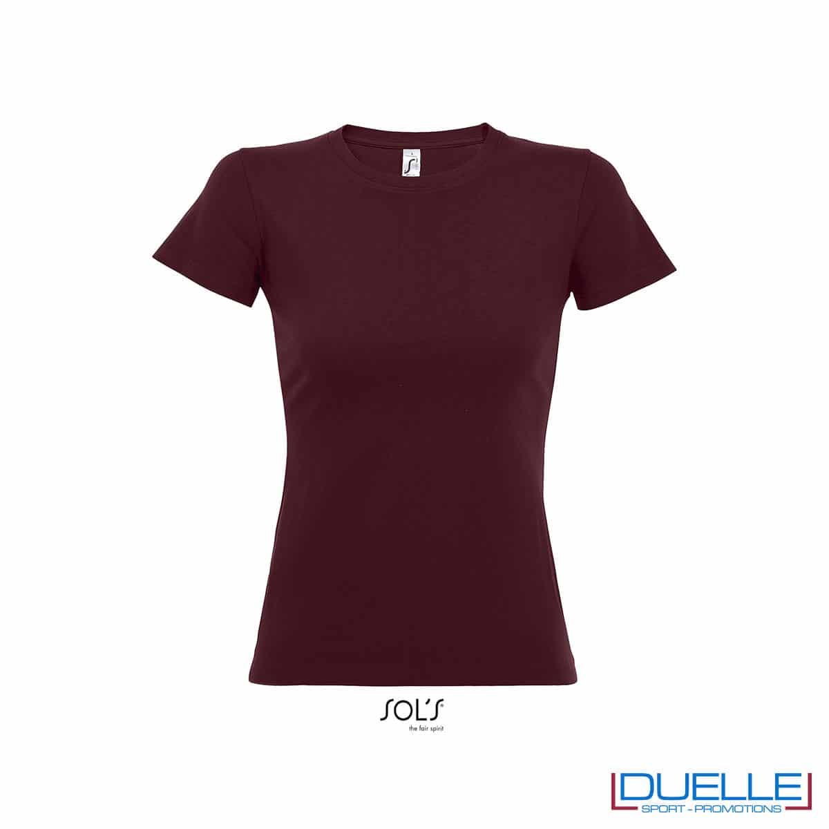 maglietta bordeaux girocollo donna