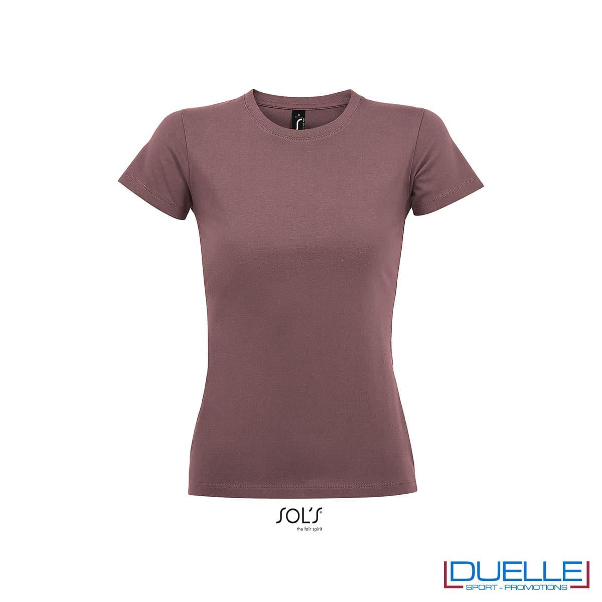 maglia rosa antico girocollo da donna