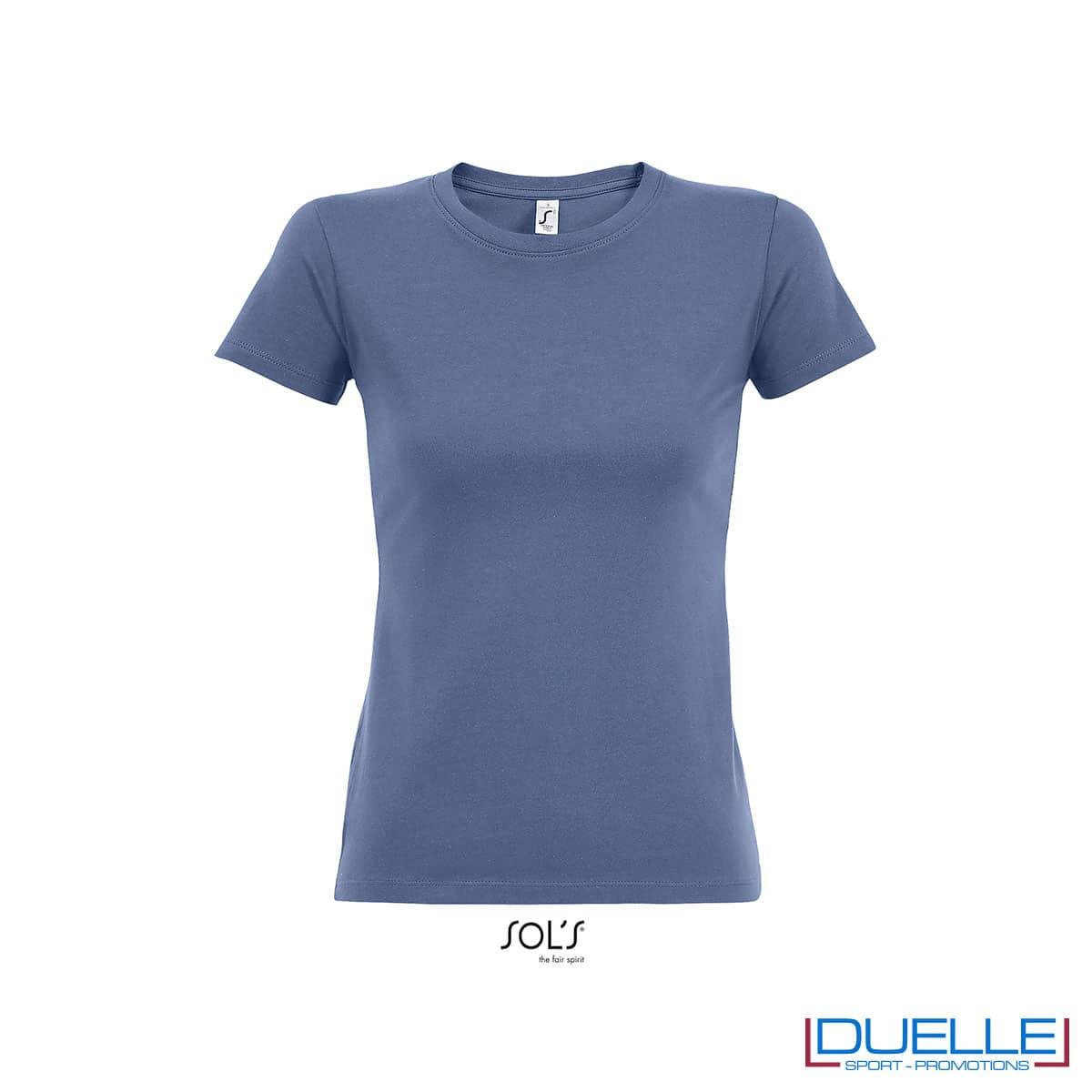 maglietta blu donna girocollo in cotone