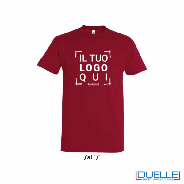 T-shirt in cotone pesante personalizzata colore rosso tango