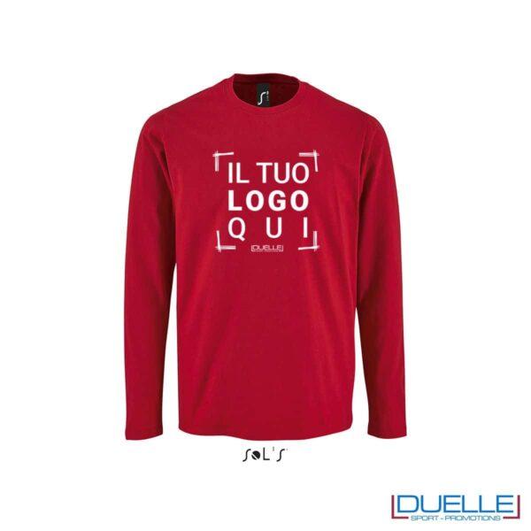 Maglietta manica lunga uomo personalizzata colore rosso