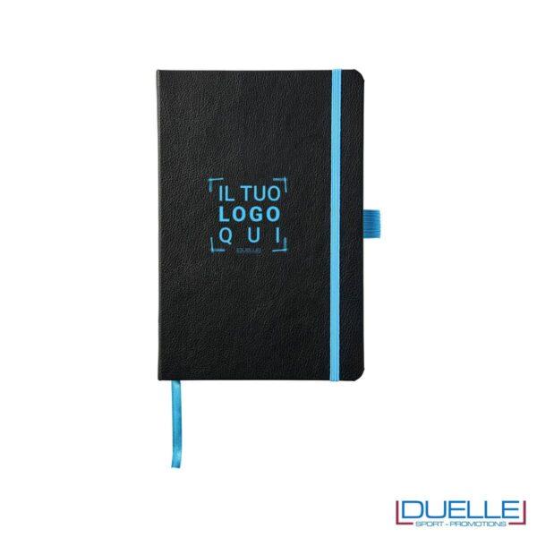 Quaderno appunti a5 personalizzato con incisione laser colore azzurro