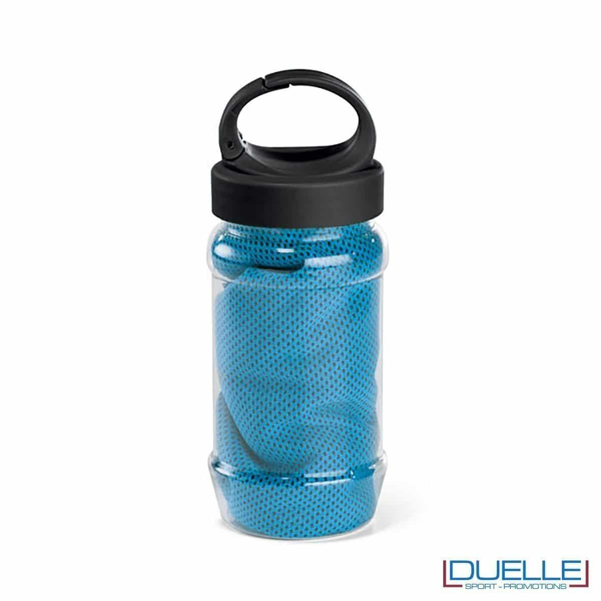 Telo palestra rinfrescante personalizzato colore azzurro