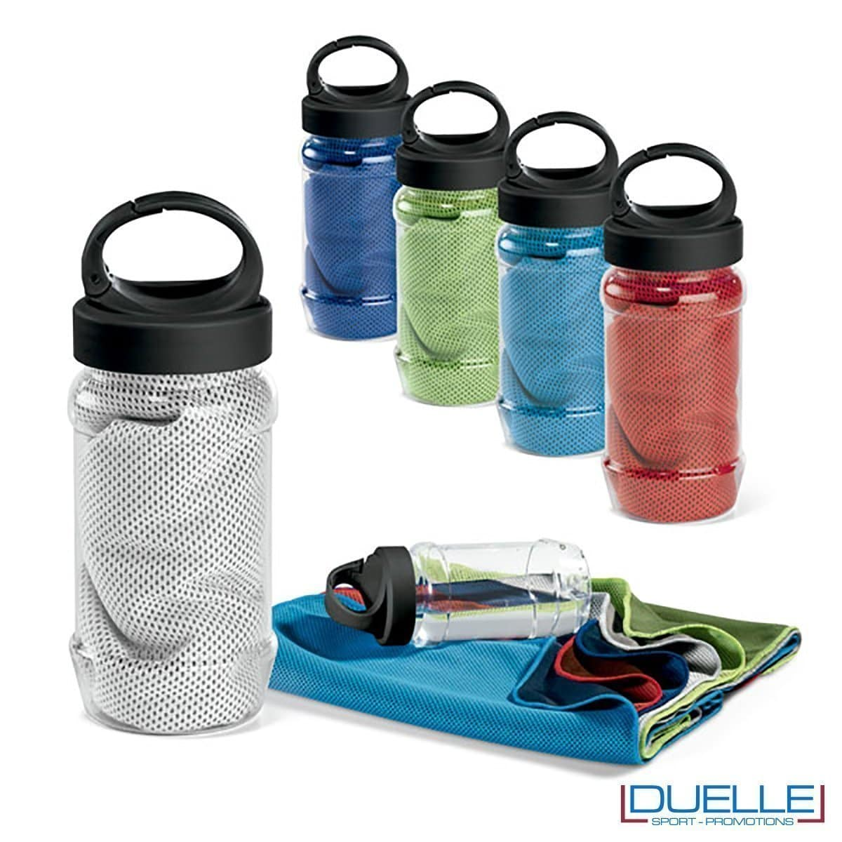 Asciugamani rinfrescanti personalizzati online con bottiglia con aggancio