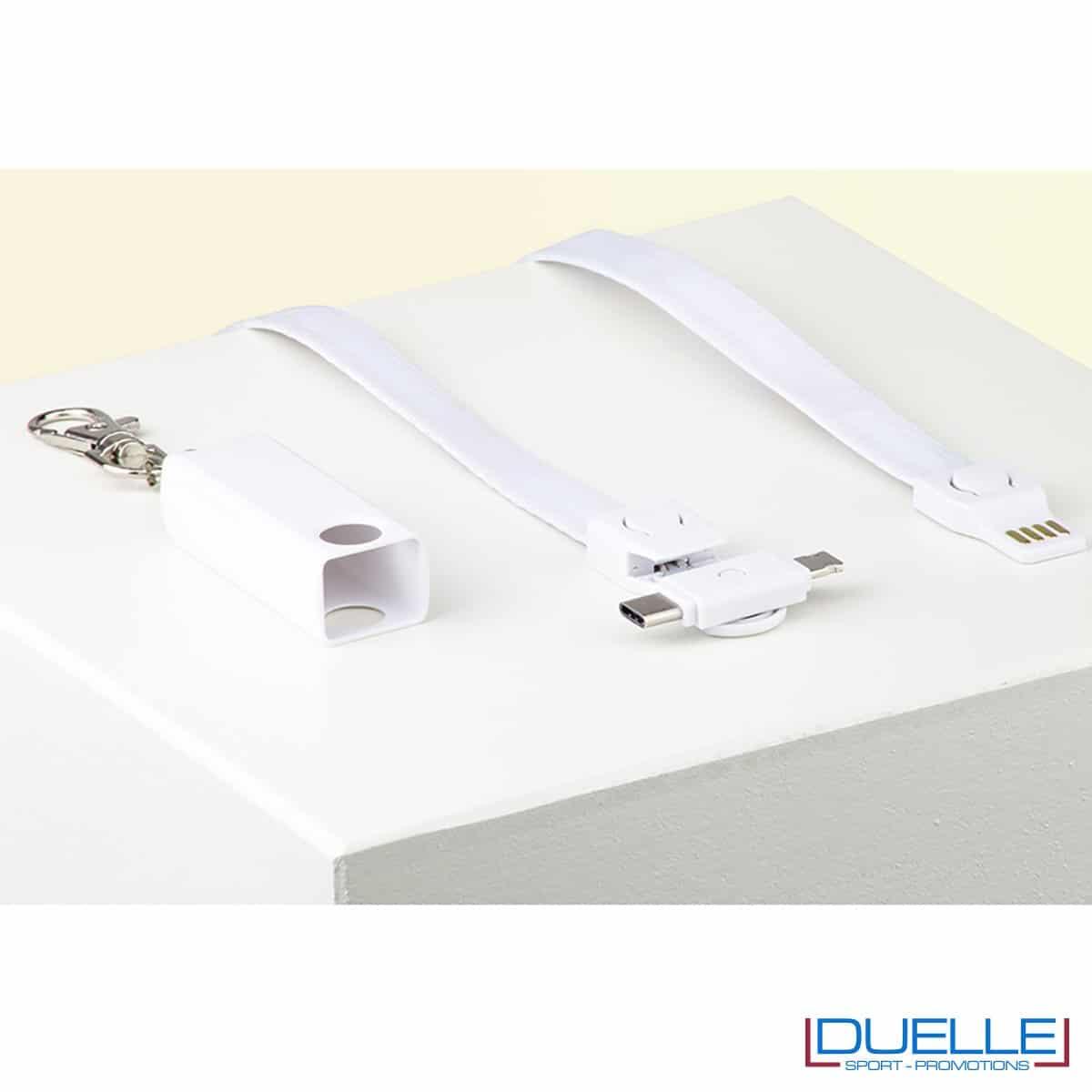 Cavo di ricarica, connettori lightning, microUSB e USB Type-C colore bianco per lanyard personalizzato