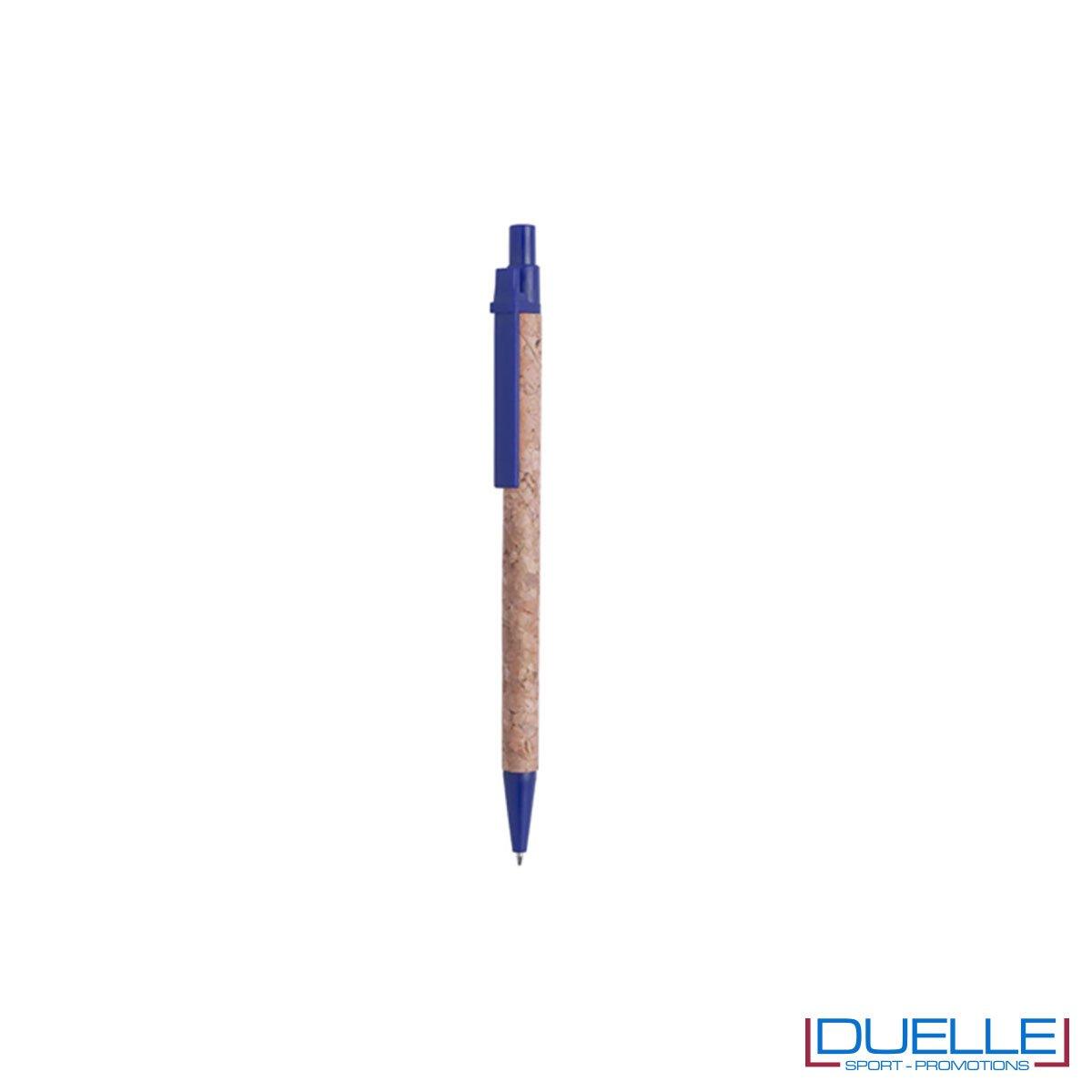 Penna in sughero personalizzata con particolari colore blu