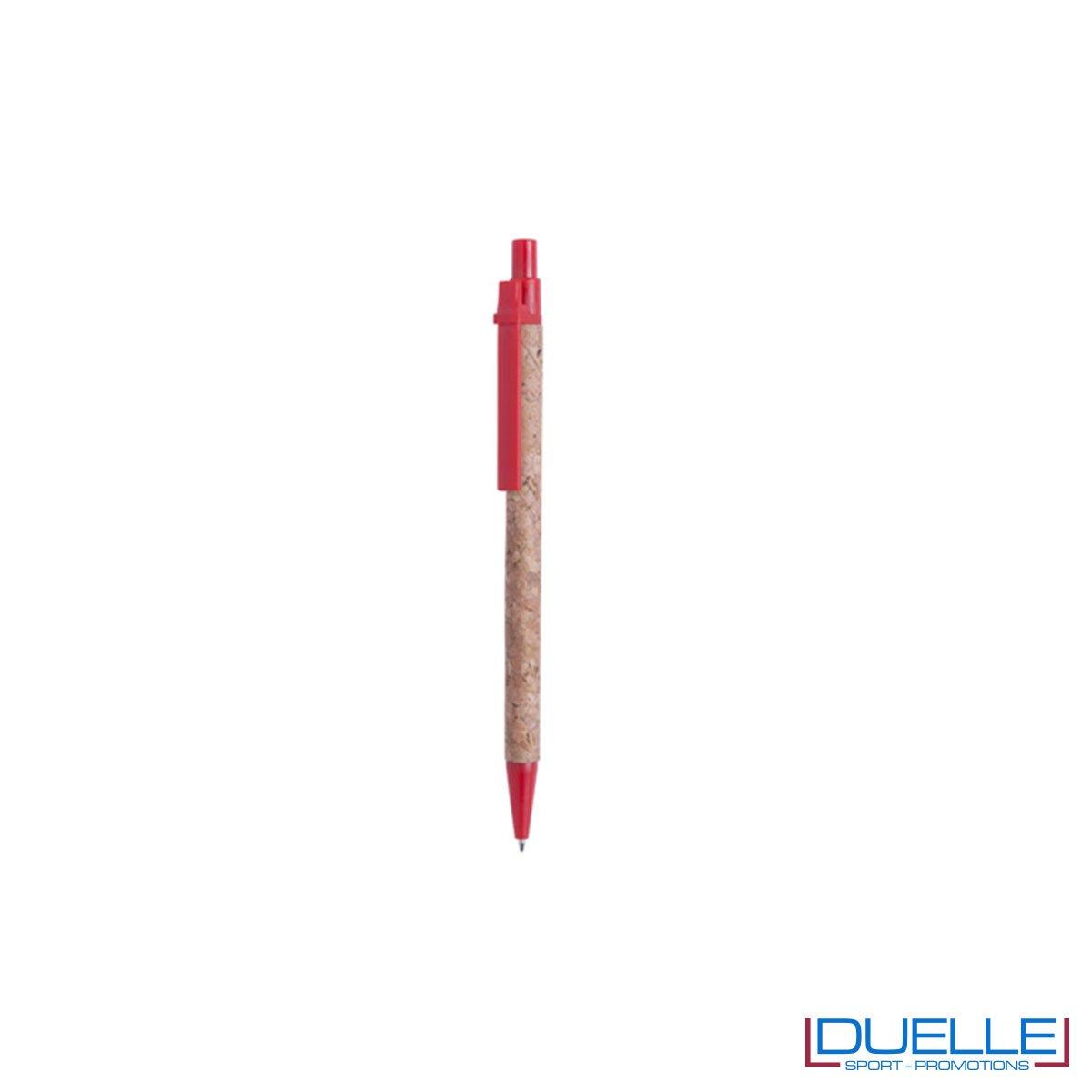 Penna promozionale in sughero con particolari colore rosso e refill blu