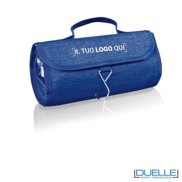 Beauty case da viaggio personalizzato colore blu melange