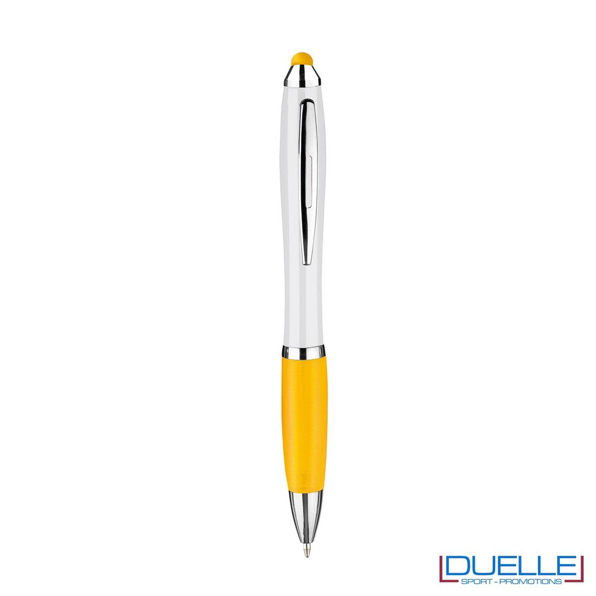 penna touch screen personalizzata in plastica fusto bianco particolari colore giallo