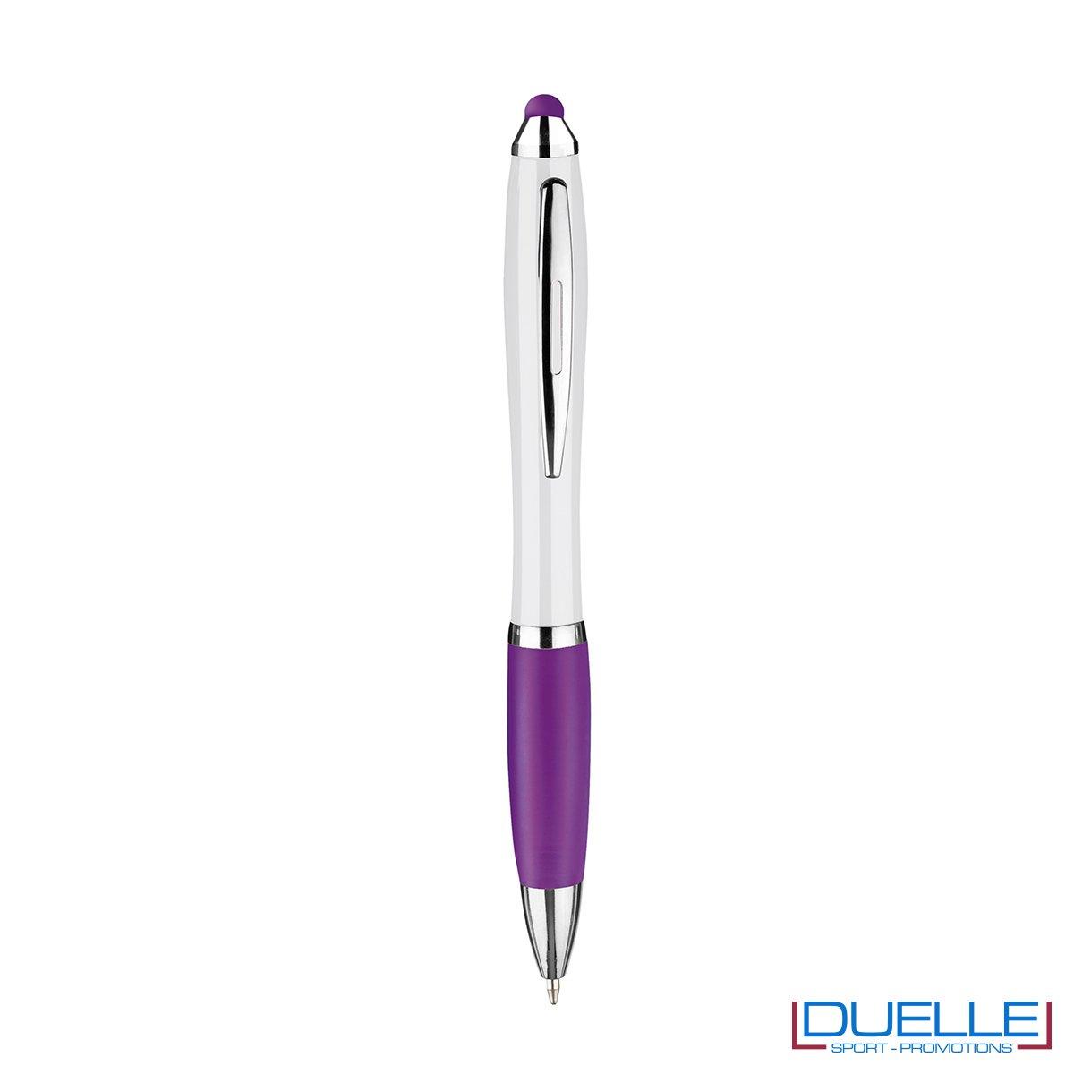 penna touch screen personalizzata in plastica fusto bianco particolari colore viola