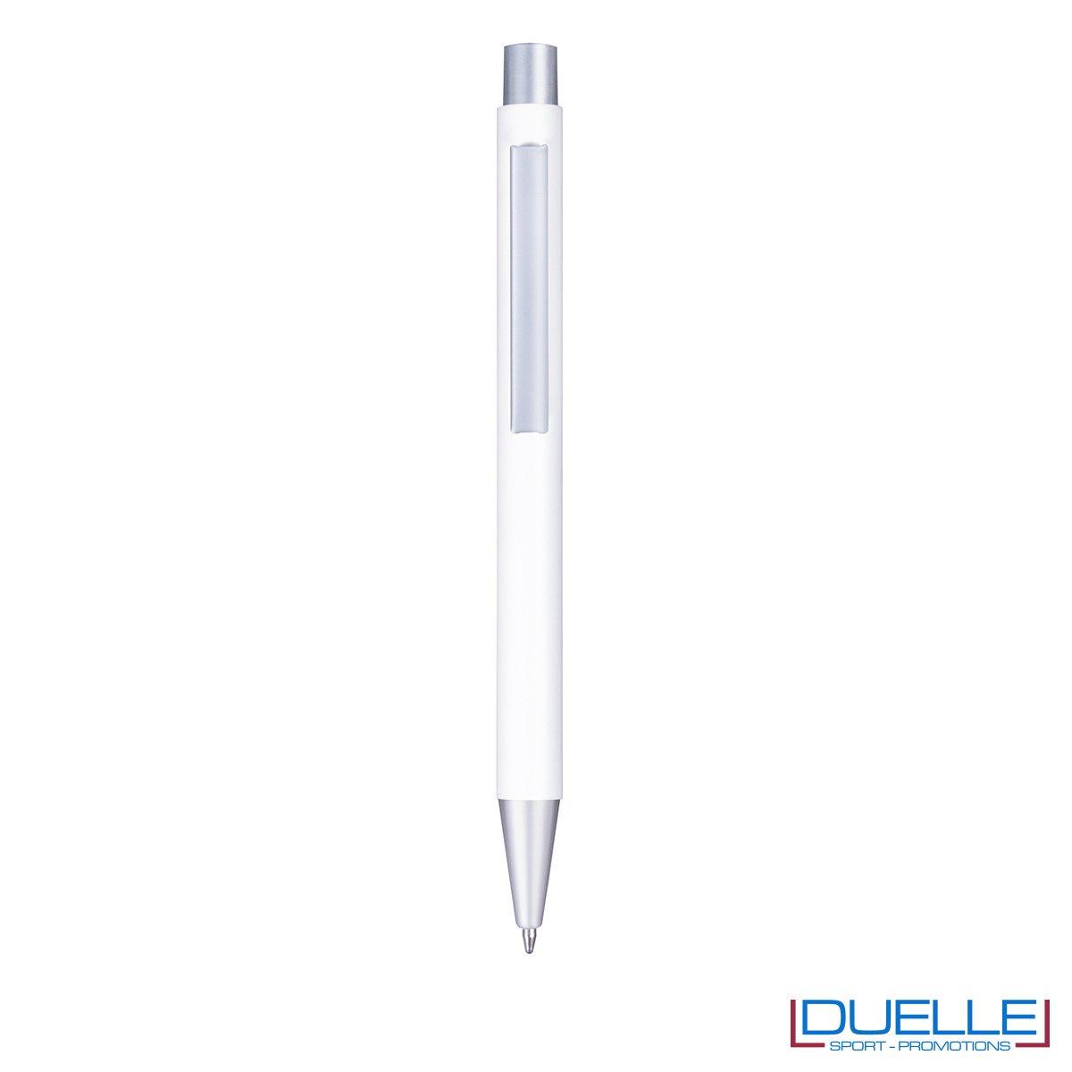 Penna in metallo personalizzata con incisione laser colore bianco