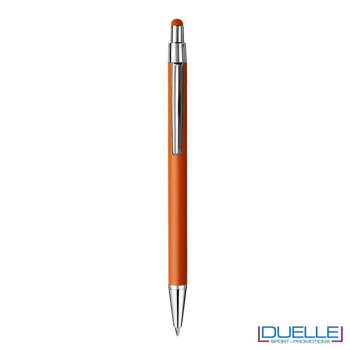 Penna personalizzata finitura soft touch colore arancione