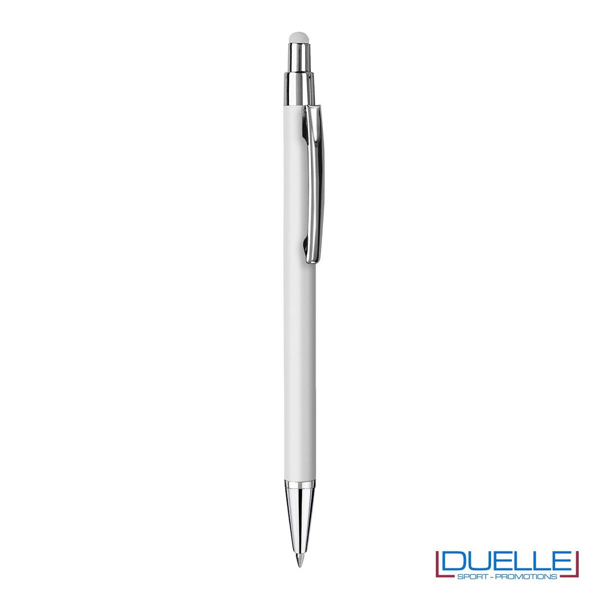 Penna personalizzata finitura soft touch colore bianco