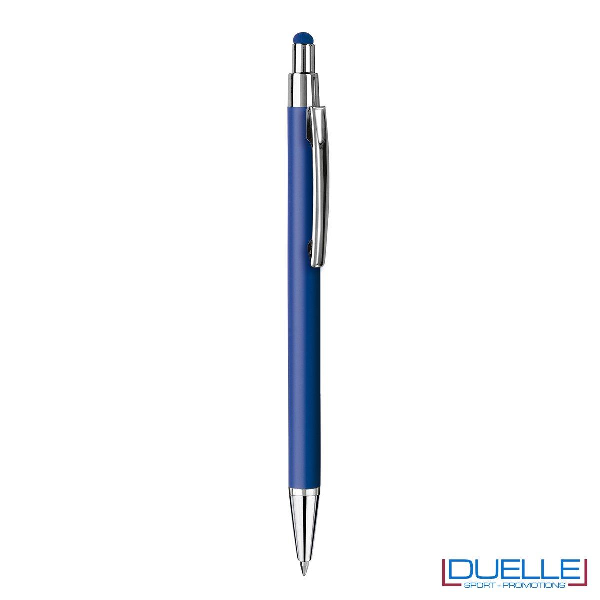 Penna personalizzata finitura soft touch colore blu