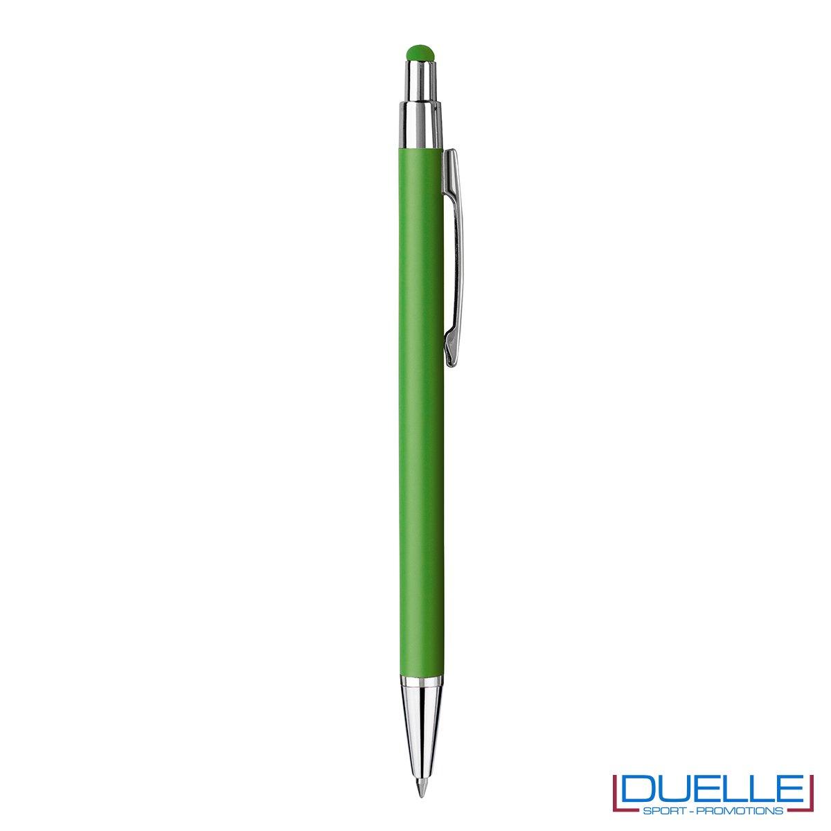 Penna personalizzata finitura soft touch colore verde