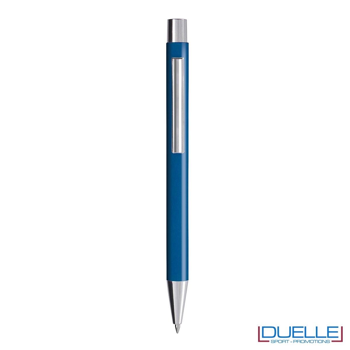 Penna personalizzata fusto soft touch colore blu