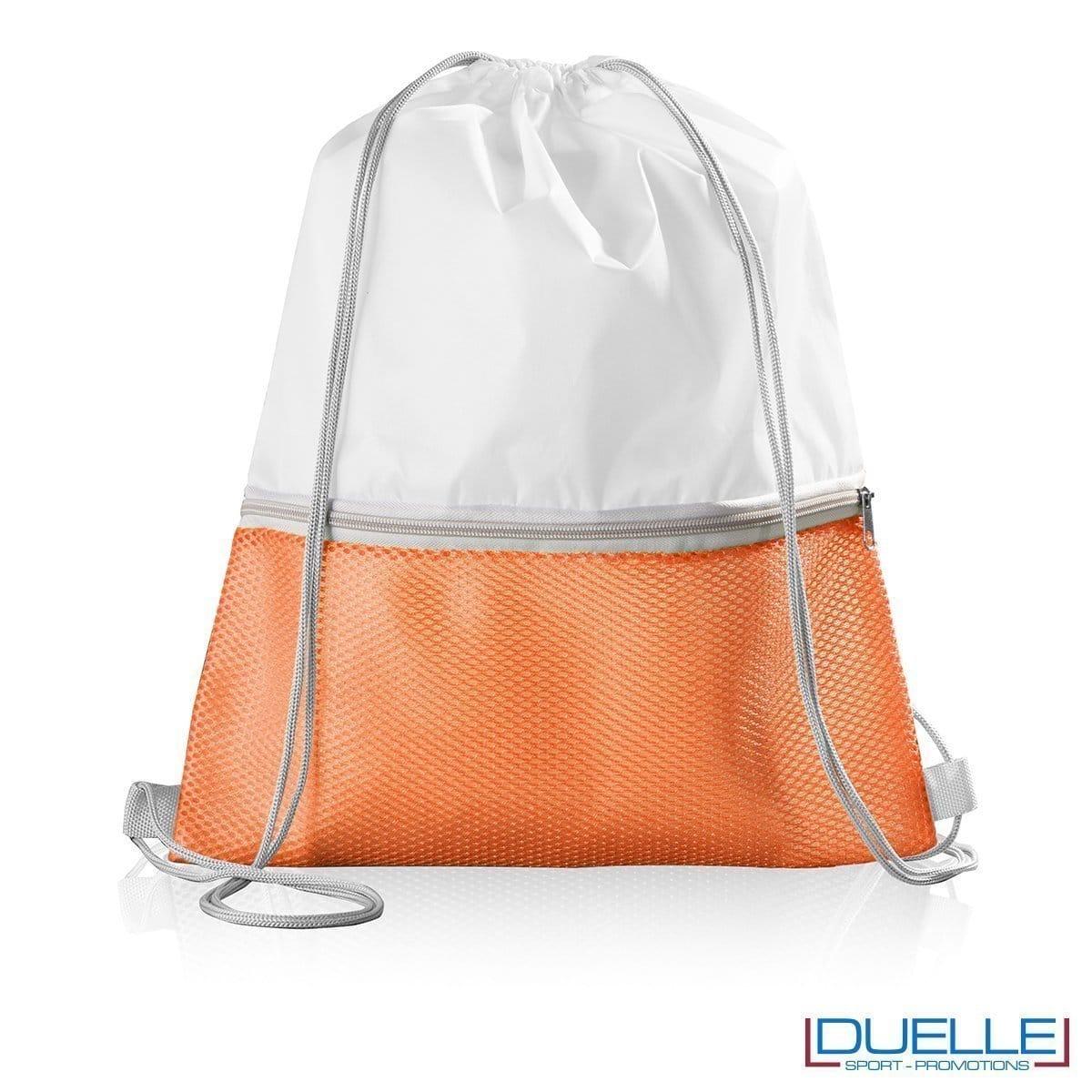 Zainetto con tasca in nylon personalizzato colore arancione