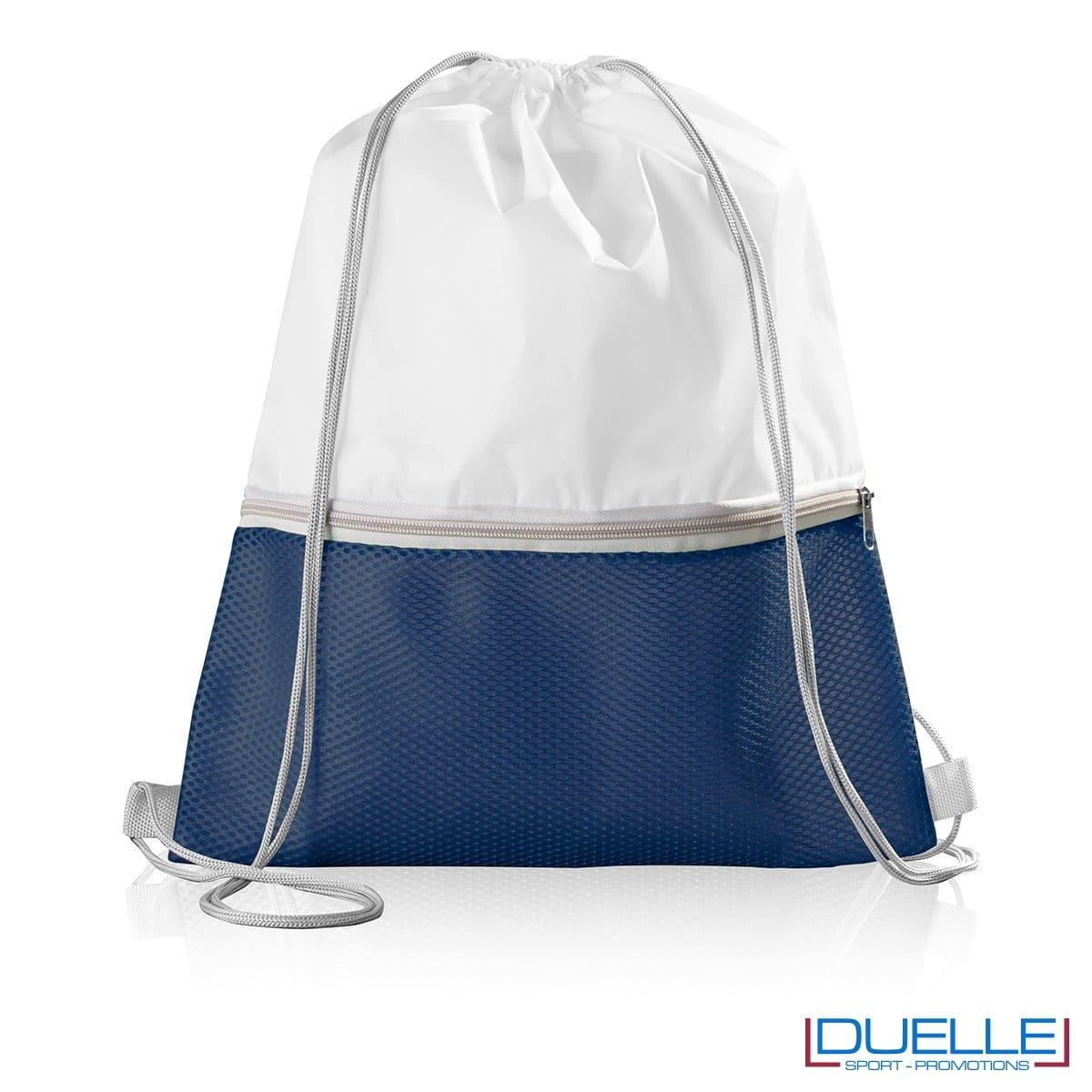 Zainetto in nylon personalizzato con tasca colore blu navy
