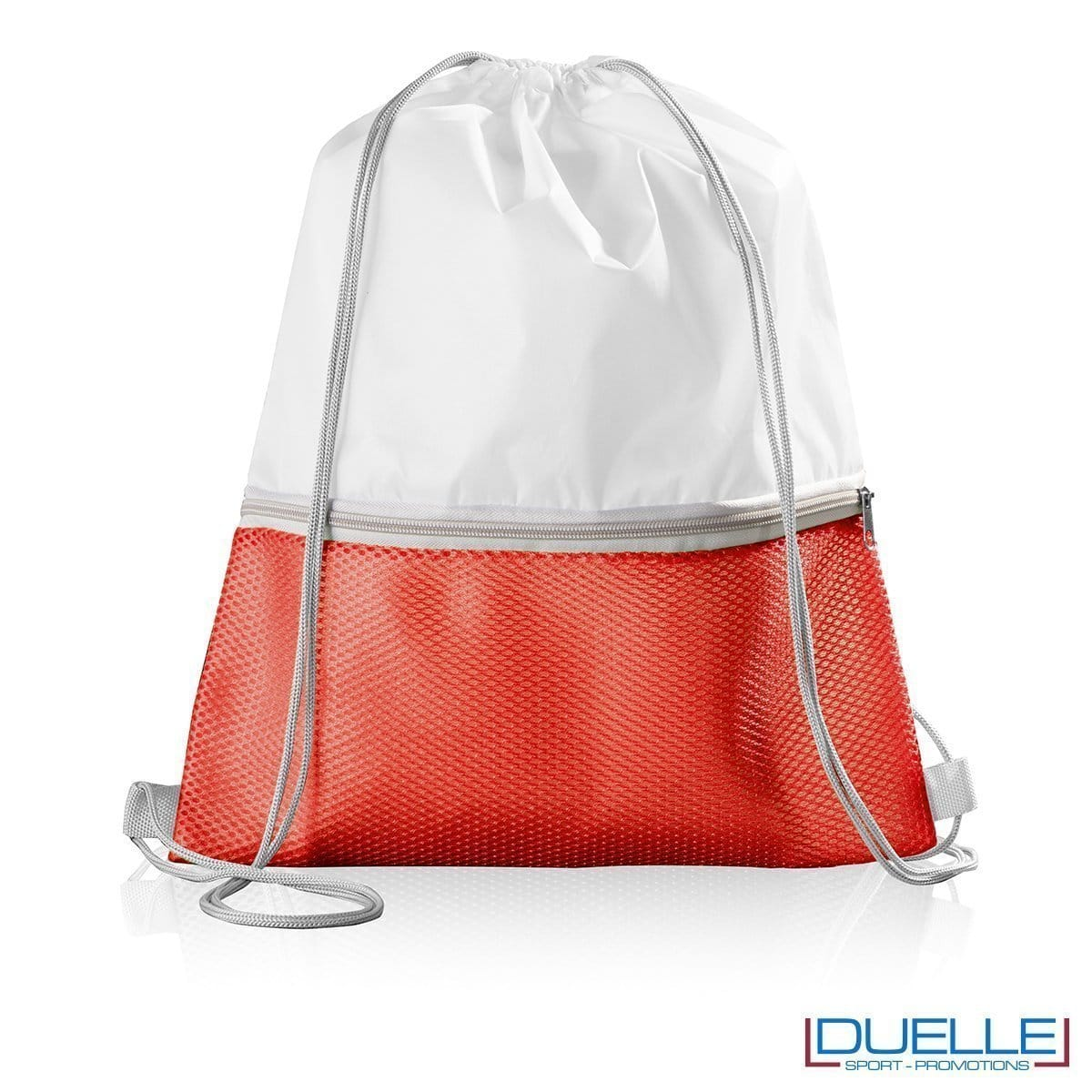 Zainetto personalizzato in nylon con tasca colore rosso