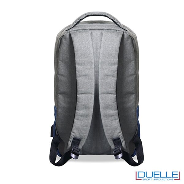 Spallacci imbottiti per zaino personalizzato porta laptop con cavo USB interno, colore grigio/blu navy