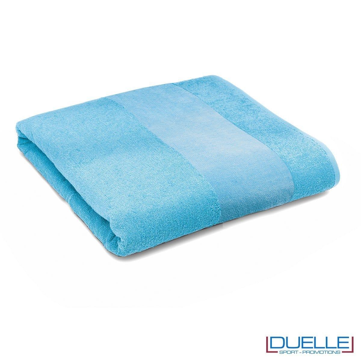 telo personalizzato mare cotone azzurro, gadget mare, gadget estate, gadget promozionali 100% cotone