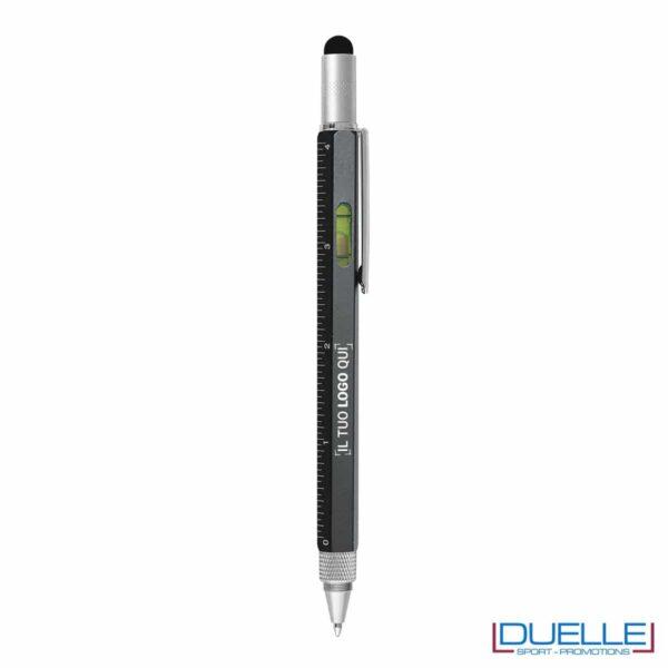 Penna personalizzata con bolla righello e cacciavite colore nero