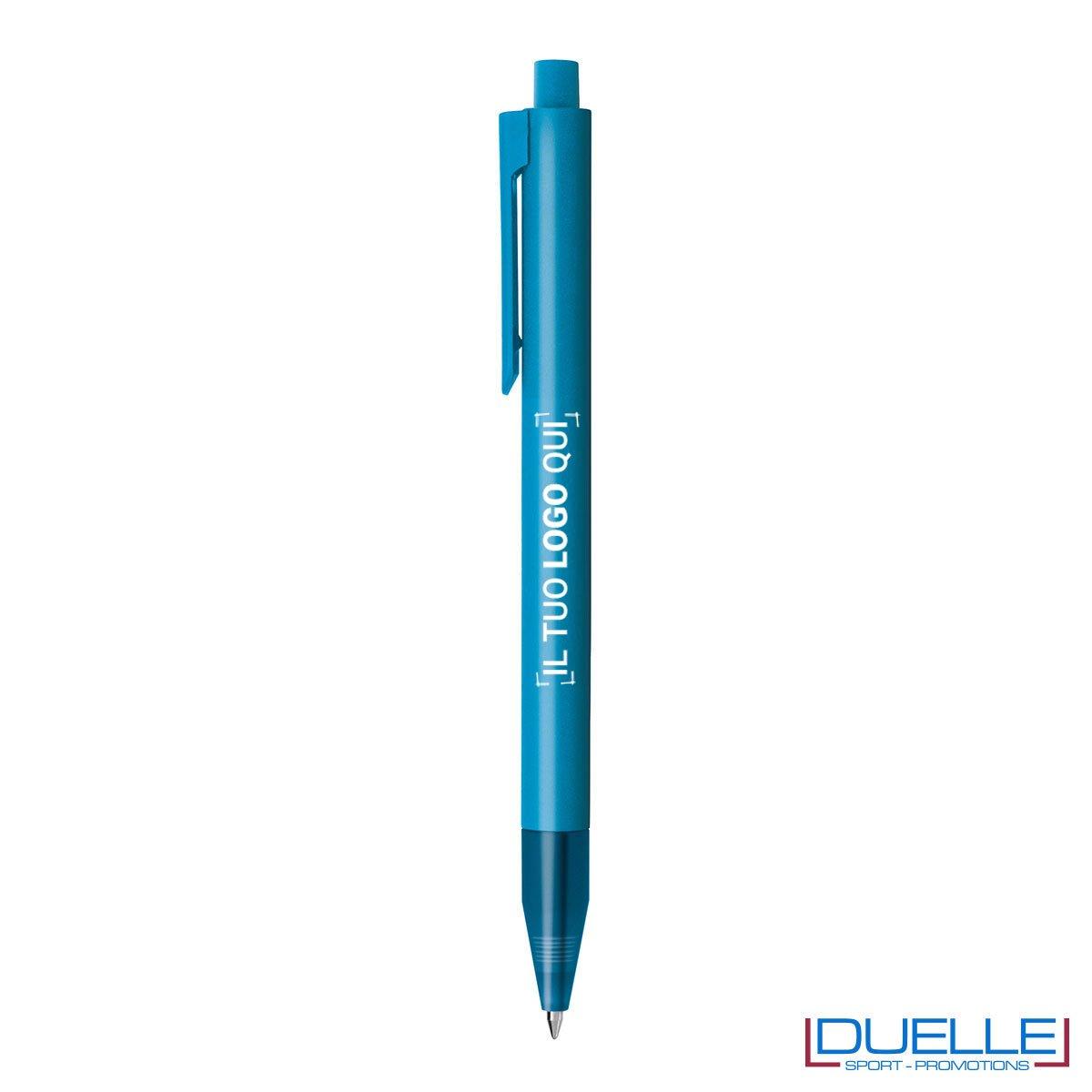 Penna personalizzata in plastica colorata azzurra