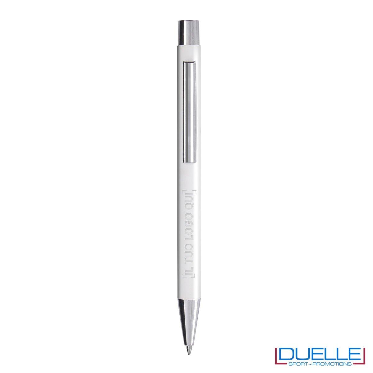 Penna personalizzata fusto soft touch colore bianco