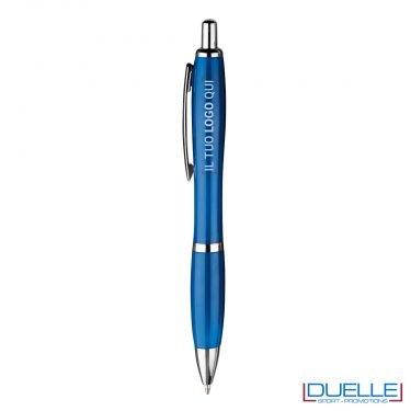 Penna economica personalizzata fusto in plastica colore blu
