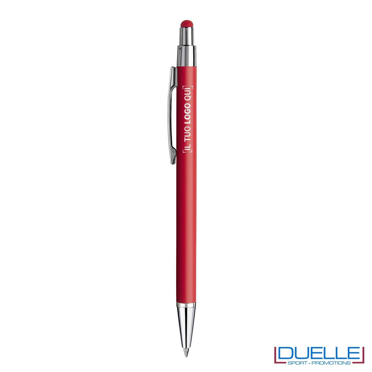 Penna personalizzata finitura soft touch colore rosso