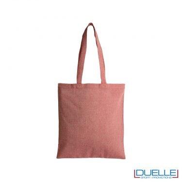 Borsa shopper in cotone riciclato personalizzata colore rosso effetto melange