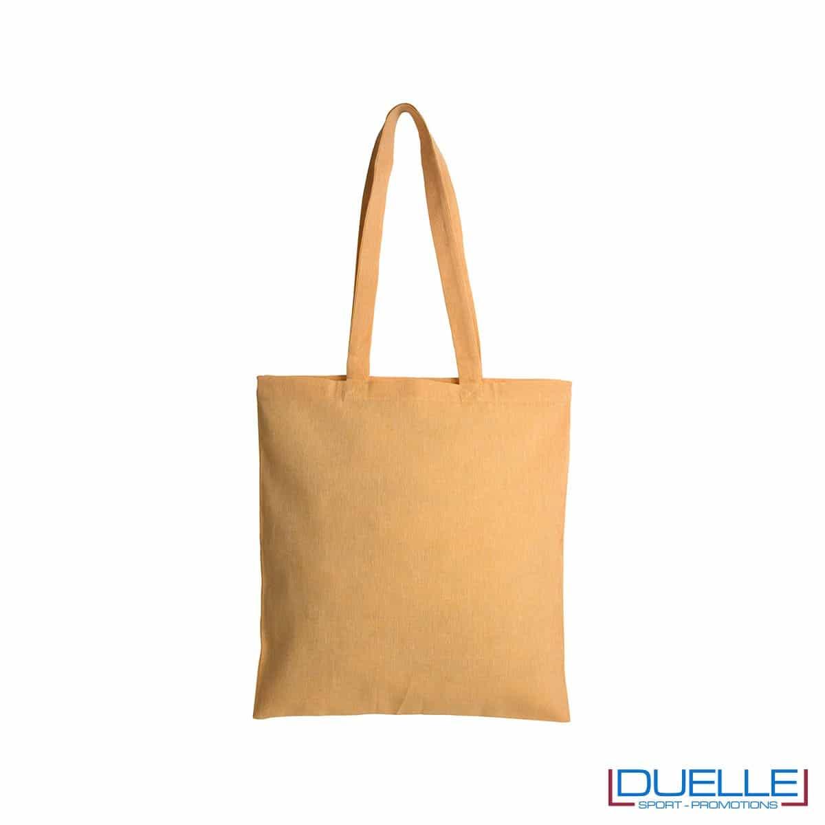 Shopper in cotone riciclato personalizzata colore giallo