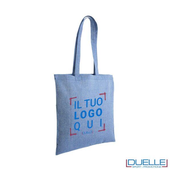Shopper in cotone riciclato personalizzata colore blu effetto melange