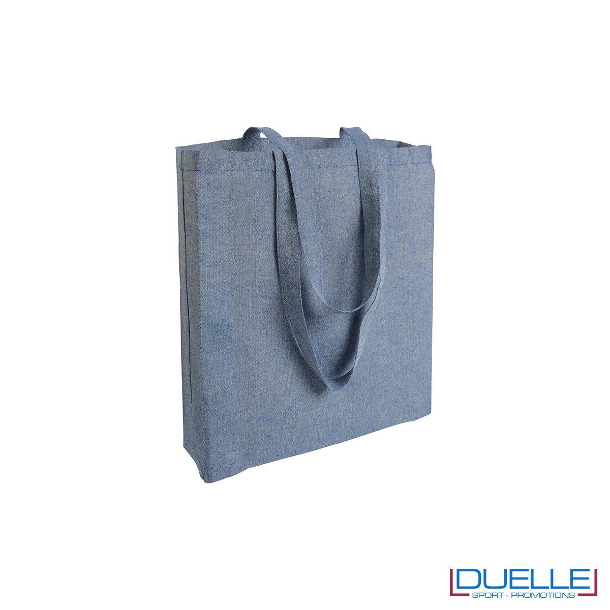 Shopper con soffietto in cotone riciclato personalizzata colore blu effetto melange
