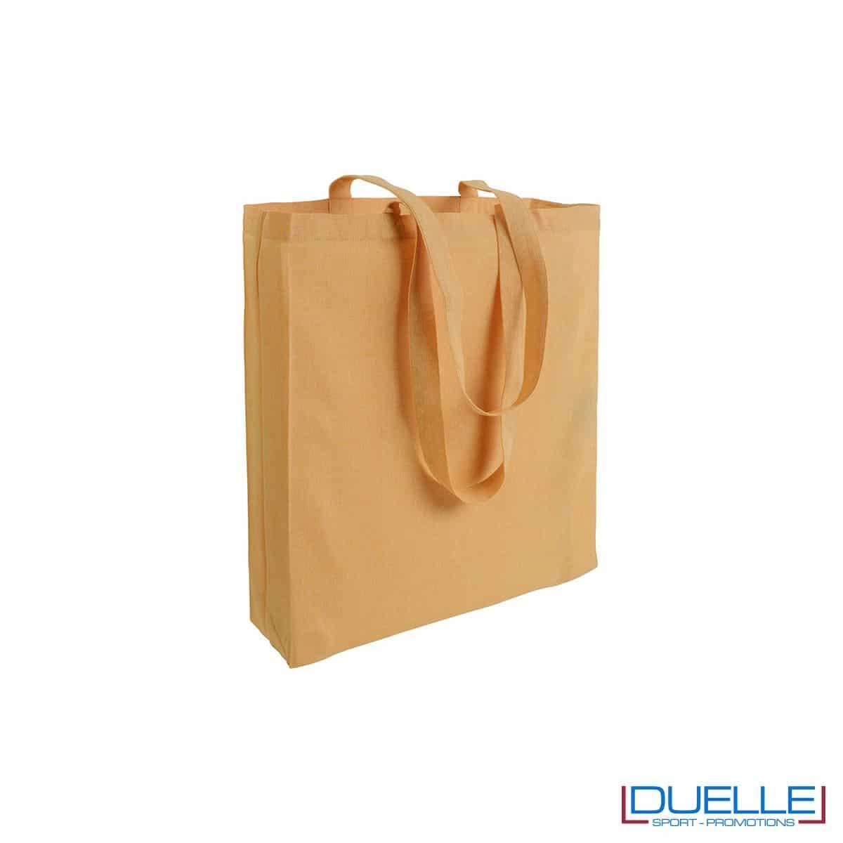 Shopper con soffietto in cotone riciclato personalizzata colore giallo effetto melange