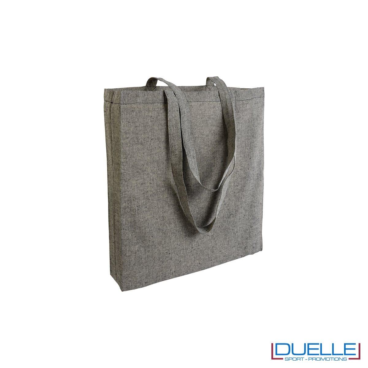 Shopper con soffietto in cotone riciclato personalizzata colore nero effetto melange