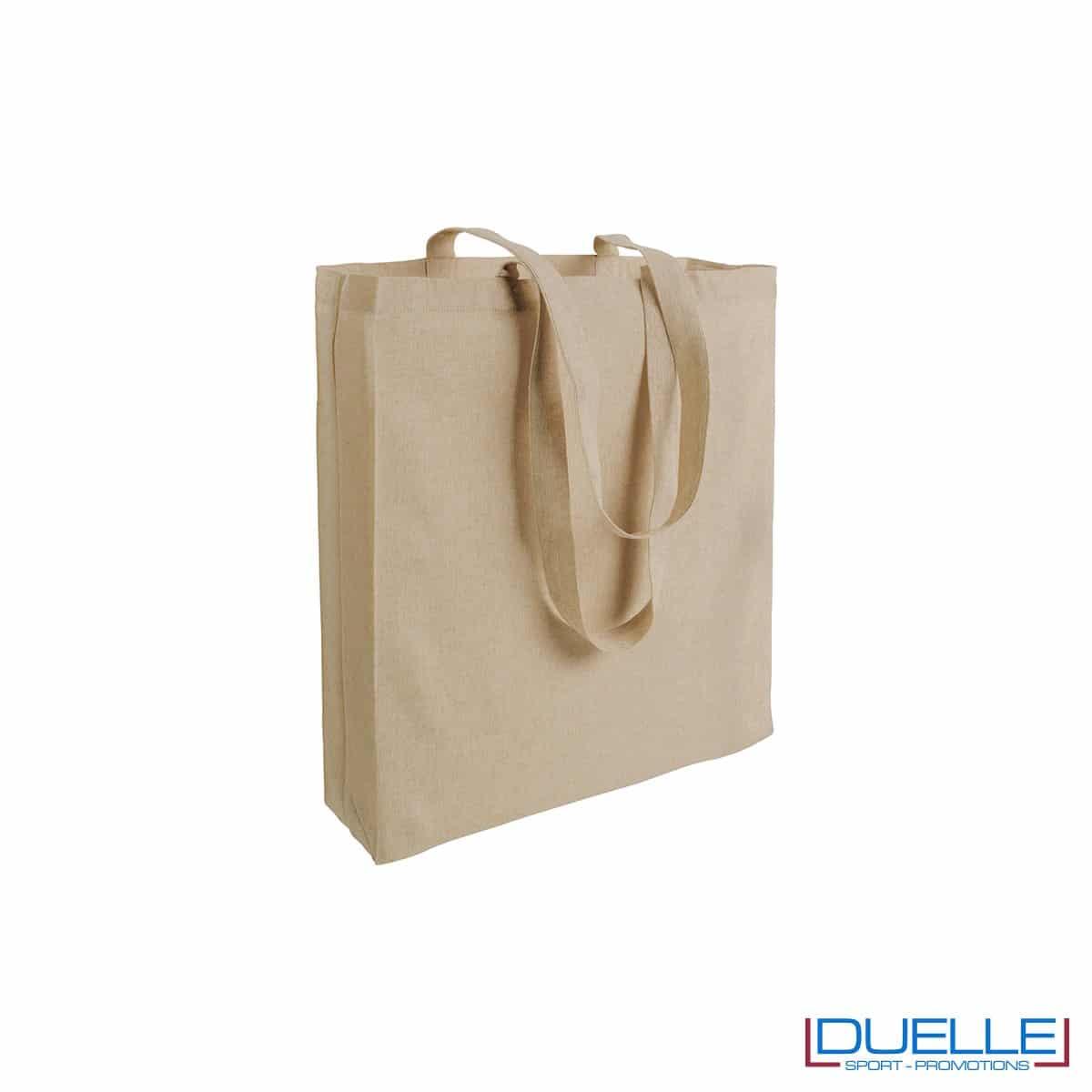 Shopper con soffietto in cotone riciclato personalizzata neutra