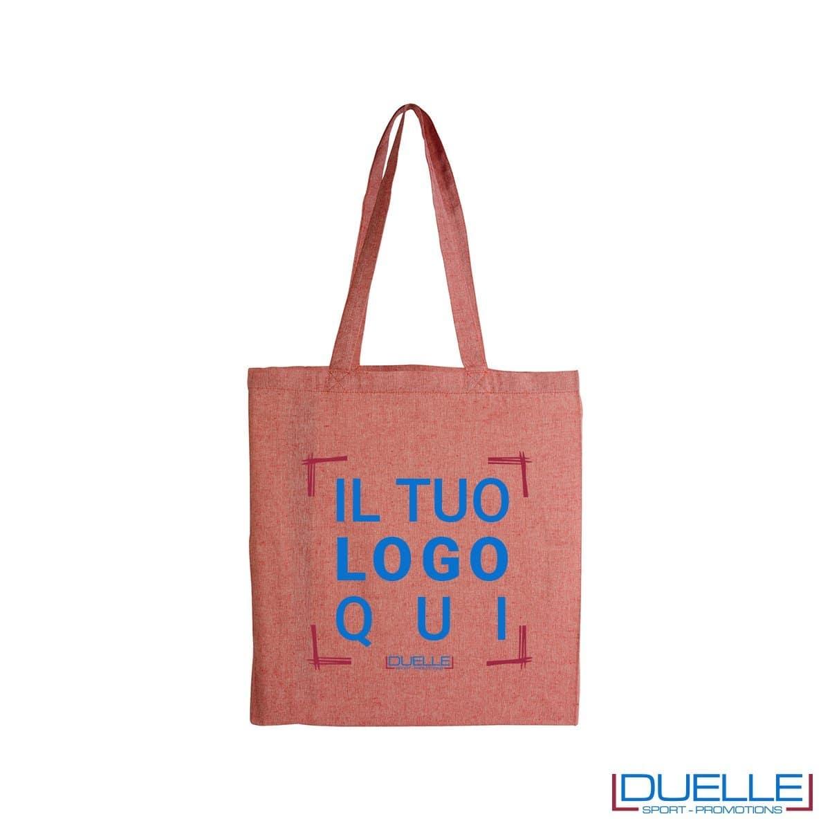 Borsa shopper con soffietto personalizzata in cotone riciclato colore rosso