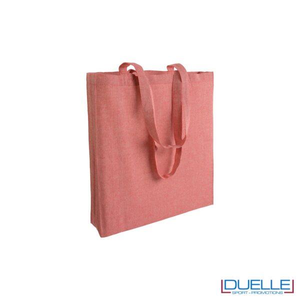Shopper con soffietto in cotone riciclato personalizzata colore rosso effetto melange