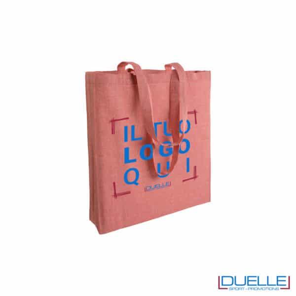 shopper in cotone con soffietto con logo