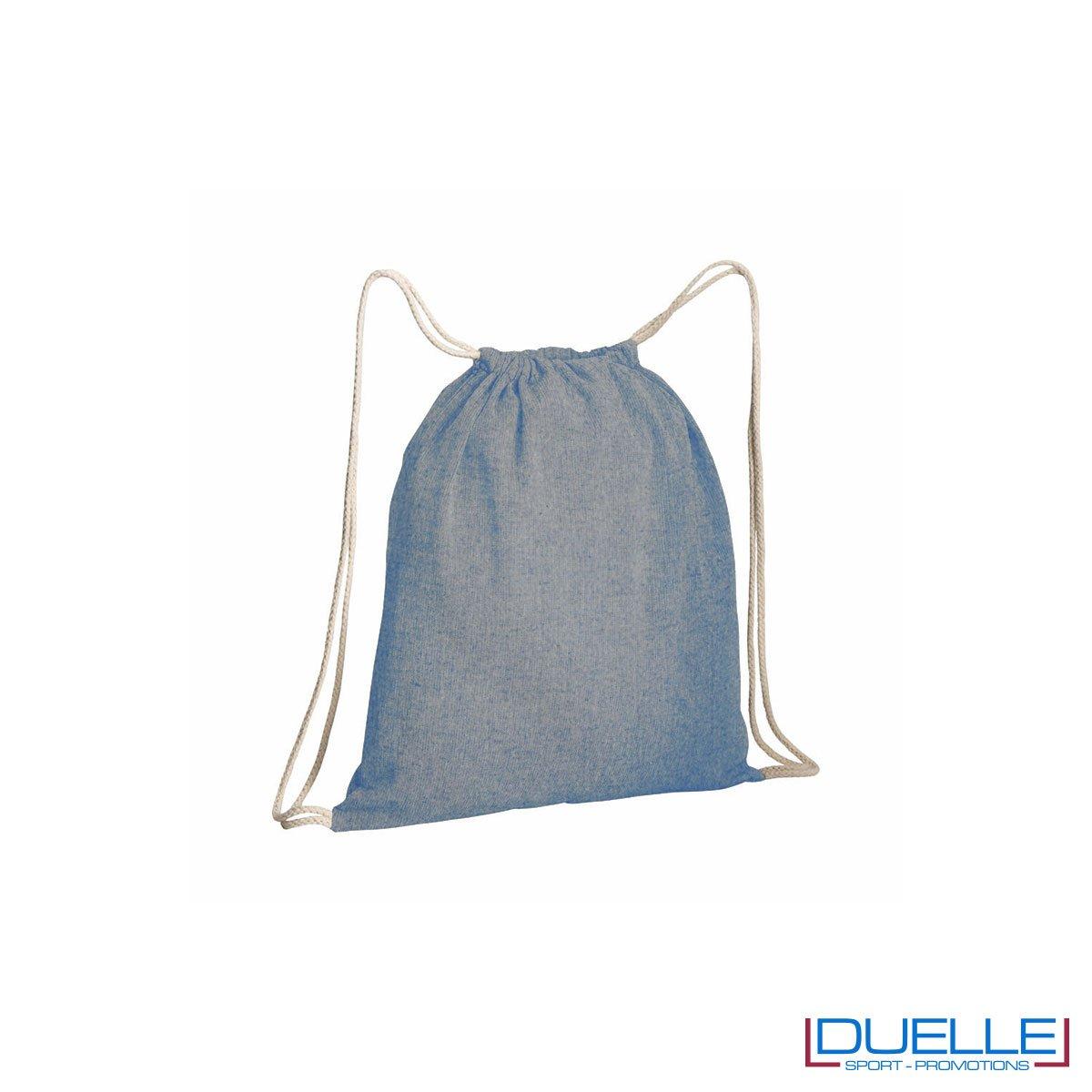 Zainetto in cotone riciclato personalizzato colore blu effetto melange