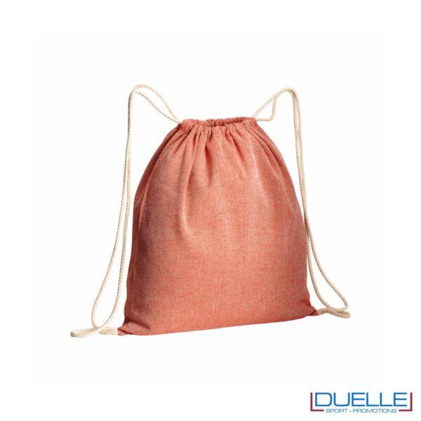 Zainetto in cotone riciclato personalizzato colore rosso effetto melange