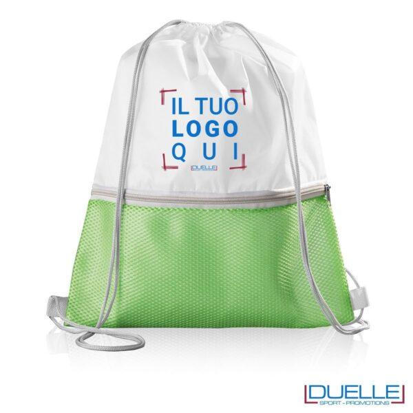 Zaino in nylon con tasca in mesh colore verde lime personalizzato con stampa a colori