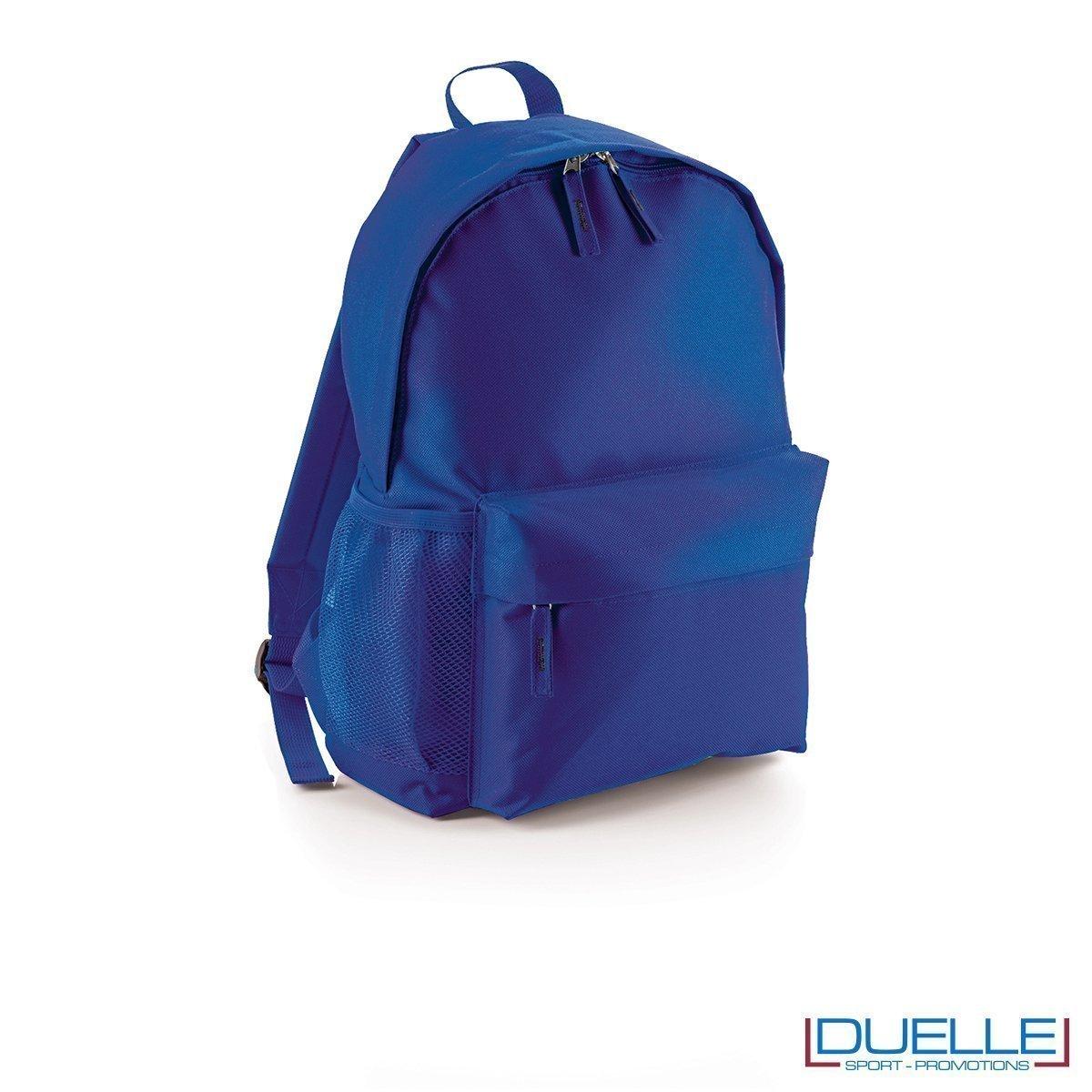 zaino personalizzato colore blu royal, gadget promozionale sport e tempo libero. Zainetto economico da stampare