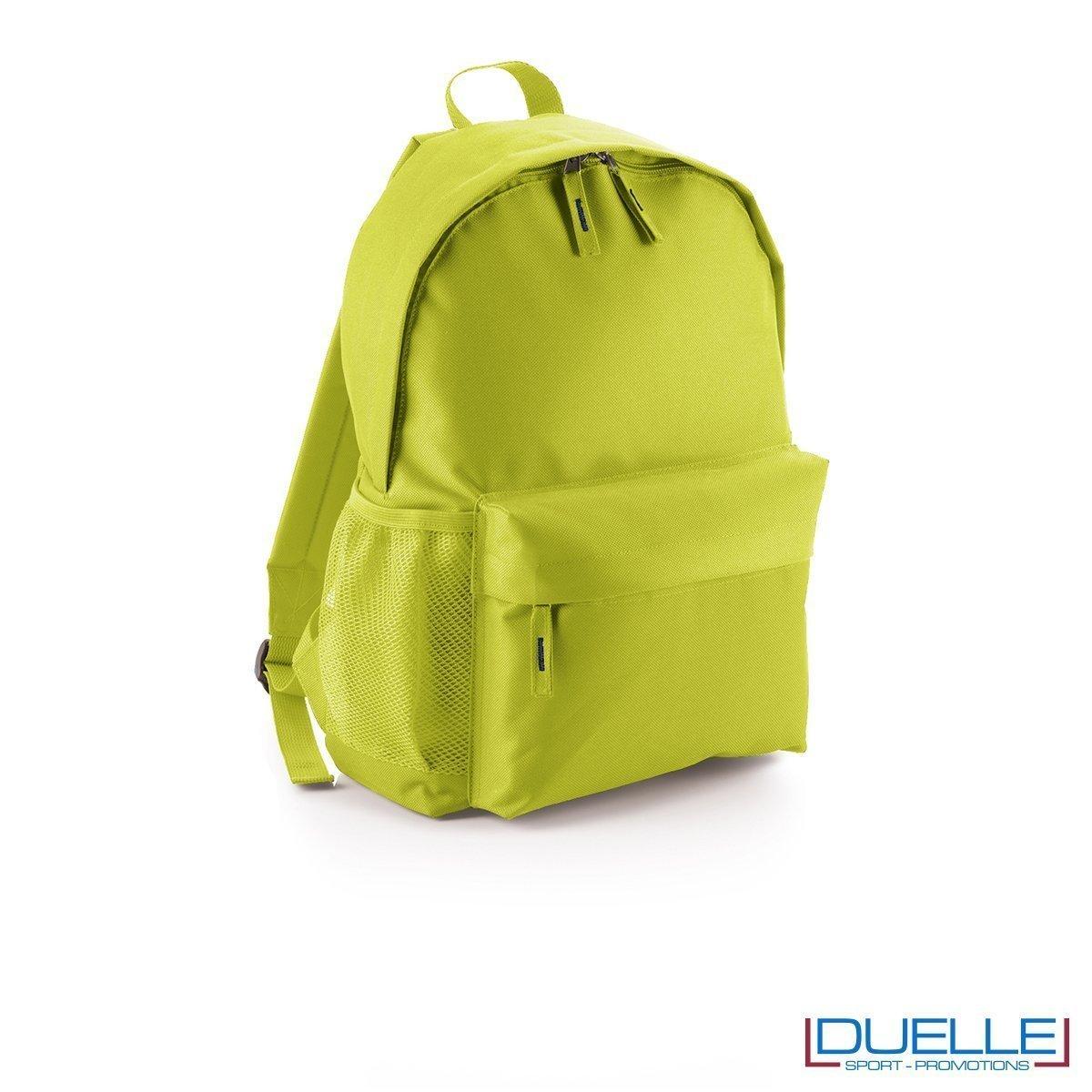 zaino personalizzato verde lime, gadget promozionale sport e tempo libero